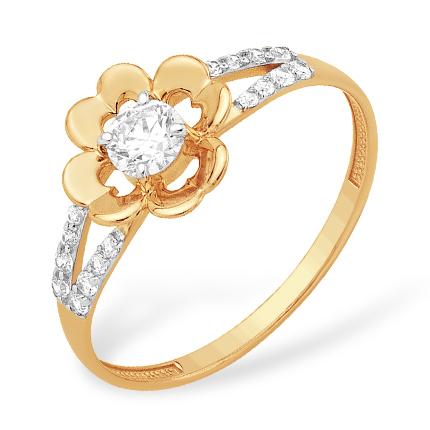 """Кольцо """"цветочек"""" из золота с кристаллом Swarovski и фианитами"""