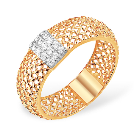 """Золотое кольцо """"сеточка"""" с фианитами"""