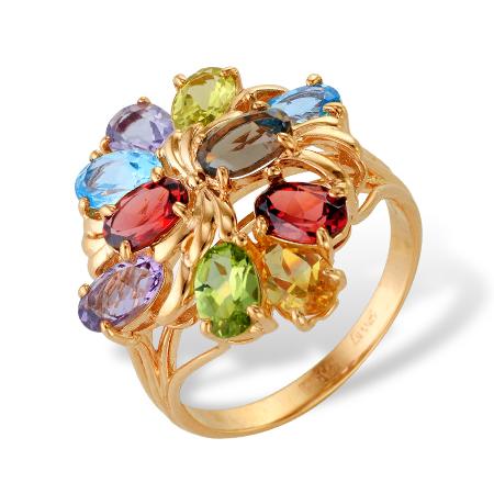 Золотое кольцо с аметистами, топазами, раух-топазом, гранатами, хризолитами и цитринами