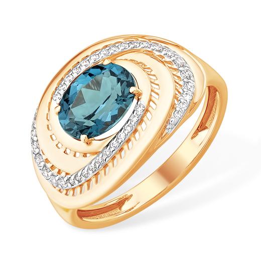 Объёмное золоте кольцо с лондон топазом