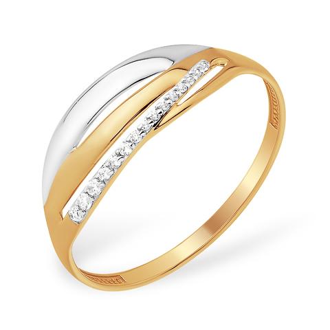 Лёгкое золоте кольцо с родиевым покрытием и бесцветными фианитами