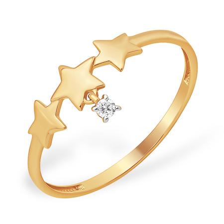 """Золотое кольцо """"звёзды"""" с фианитом"""