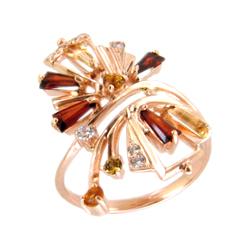Кольцо из золота с гранатами, цитринами и фианитами