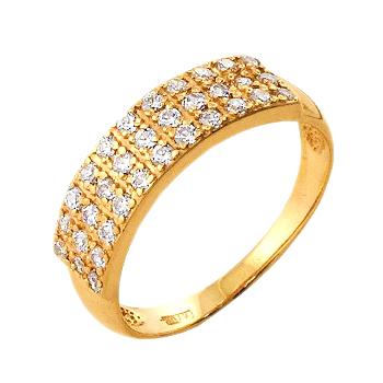 Кольцо из золота с прозрачными фианитами