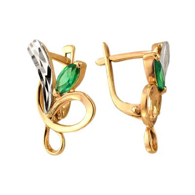 Серьги из золота с зелеными фианитами и алмазной гранью