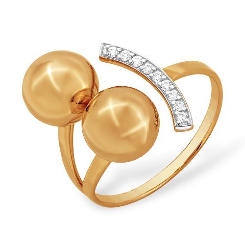 """Золотое кольцо """"шары"""" с фианитами"""