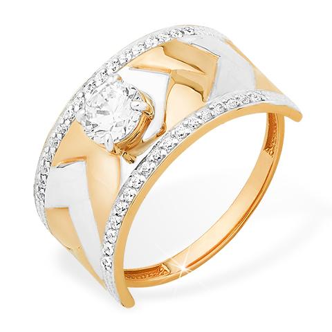 Кольцо из золота с кристаллом Сваровски и фианитами