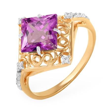 Ажурное кольцо с аметистом