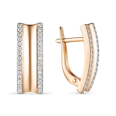Золотые серьги с дорожками из фианитов