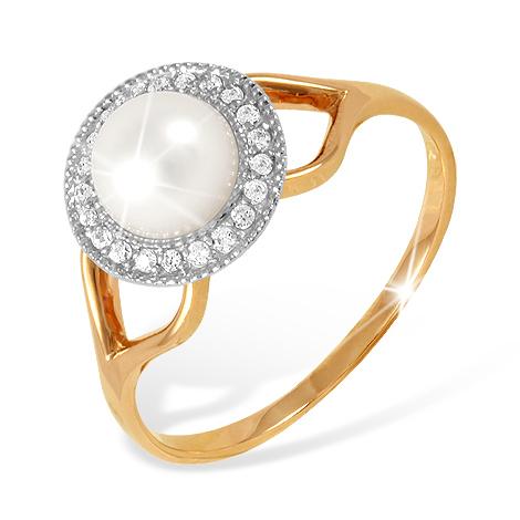 Кольцо из золота с белым жемчугом с фианитами