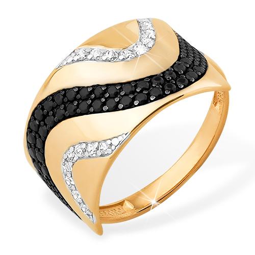 Объемное кольцо из золота с черными и белыми фианитами