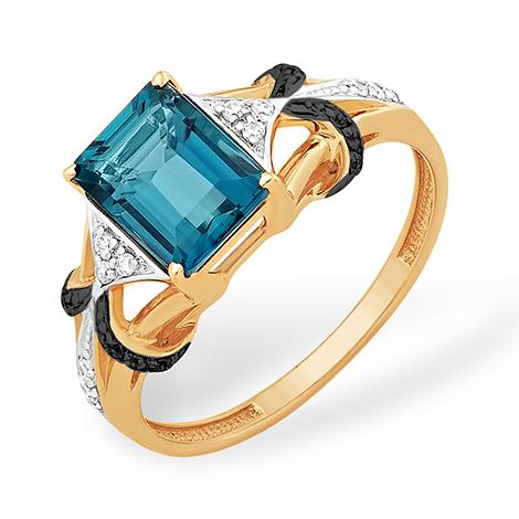 Золотое кольцо с крупным лондон топазом, чёрными и бесцветными фианитами