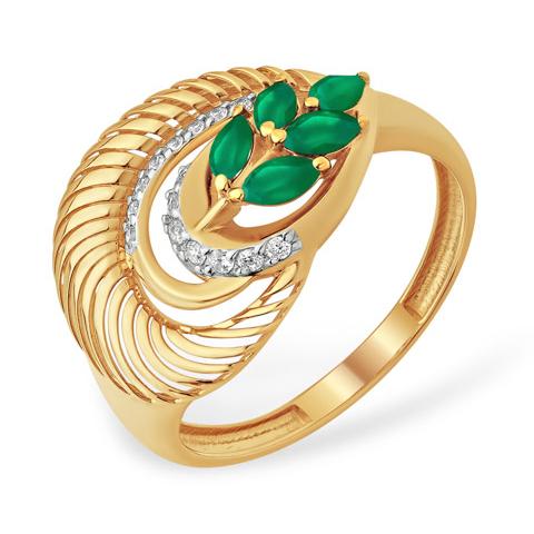 Золотое кольцо оригинальной формы с зелёным агатом и фианитами
