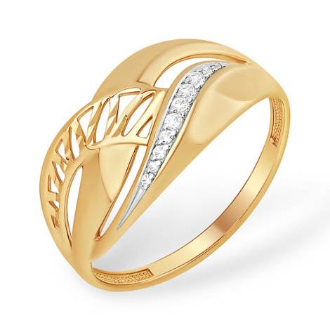 Золотое кольцо с переплетёнными линиями