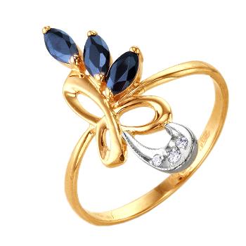 Кольцо из золота с синими и белыми фианитами