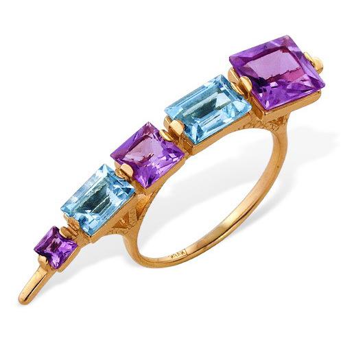 Оригинальное золотое кольцо с аметистами и топазами