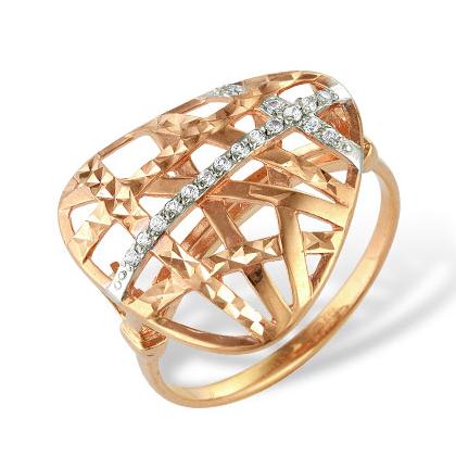 Кольцо из золота с алмазной гранью и фианитами