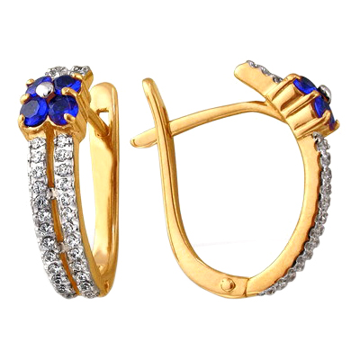 Серьги из золота с синими цветами и белыми фианитами