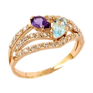 Кольцо из золота с аметистом, топазом и фианитами