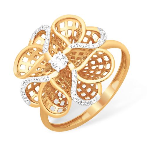 Золотое кольцо в виде объёмного цветка с фианитами