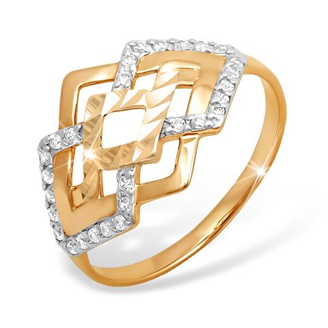 """Кольцо """"ромбы"""" из золота с фианитами"""