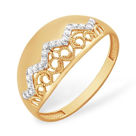 Золотое кольцо с филигранью и фианитами