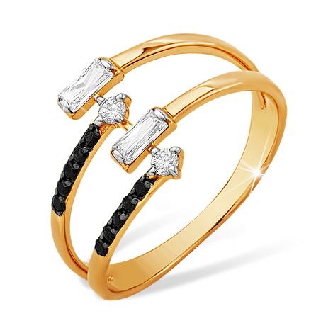 Кольцо из золота с черными и белыми фианитами