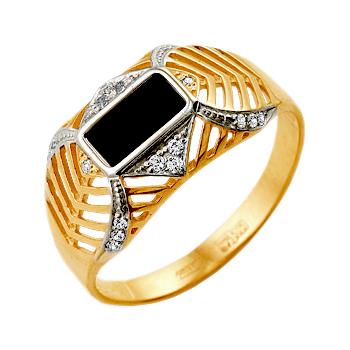 Мужское кольцо из золота 585 пробы с черными и белыми фианитами