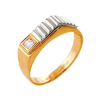 Мужское кольцо из золота с белым фианитом