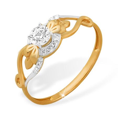 Интересное кольцо из золота с кристаллом Swarovski и фианитами