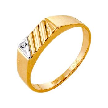 Мужское кольцо из белого и красного золота с фианитом