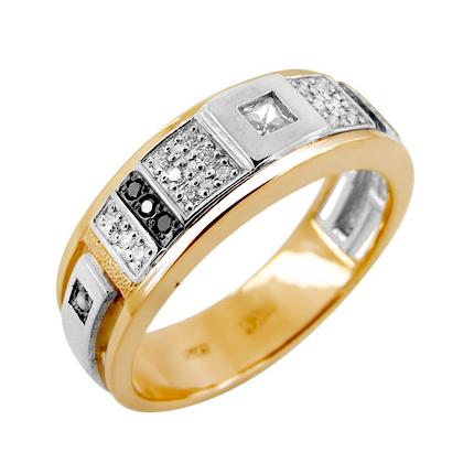 Кольцо из золота с белыми и черными бриллиантами и бесцветным сапфиром