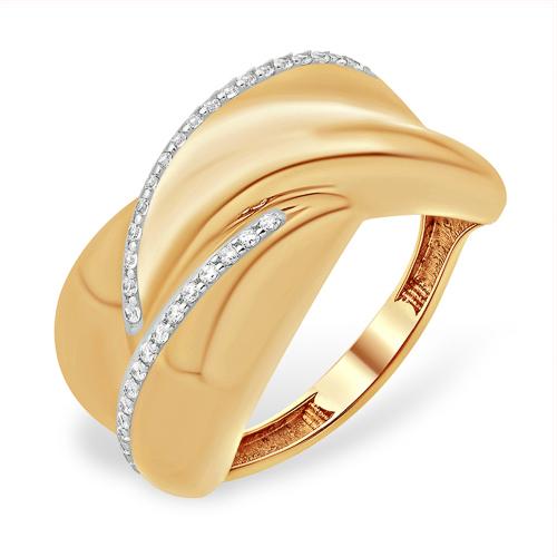 Объёмное кольцо из золота с фианитами
