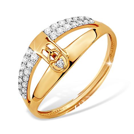 """Кольцо """"замок"""" из золота с фианитами"""