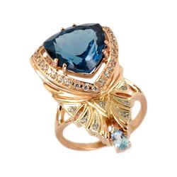 Кольцо из золота с Лондон топазом, топазом и фианитами