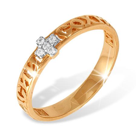 """Православное кольцо """"спаси и сохрани"""" из золота с фианитами"""