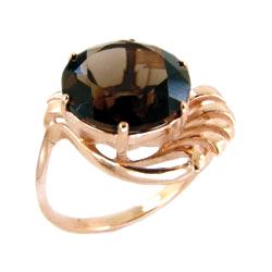Кольцо из золота с большим раух-топазом