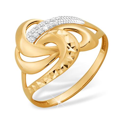 Золотое кольцо с алмазной гранью и фианитами