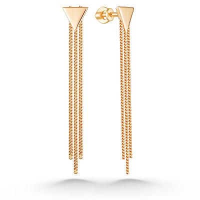Серьги-пусеты с цепочками из золота