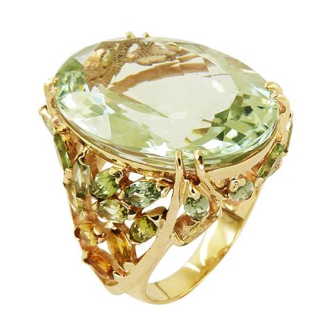 Кольцо из золота с празиолитом, цитринами, хризолитами