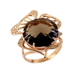 Кольцо из золота с крупным раух-топазом
