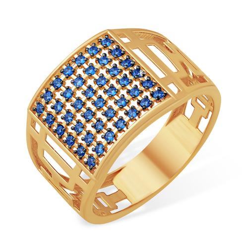 Очень широкое золотое кольцо с сапфировыми фианитами