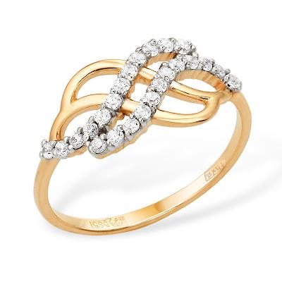 """Золотое кольцо """"волна"""" с фианитами"""