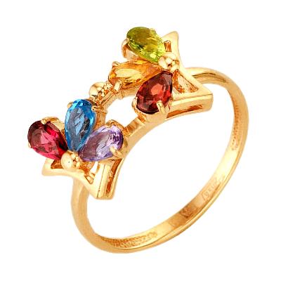 Кольцо из золота с миксом из полудрагоценных камней