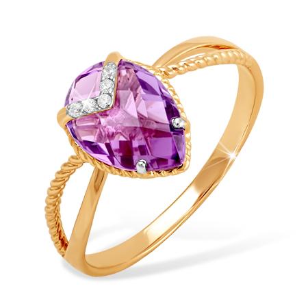 Кольцо из золота с сиреневым аметистом и фианитами
