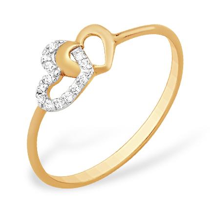 """Кольцо """"любящие сердца"""" из золота с фианитами"""