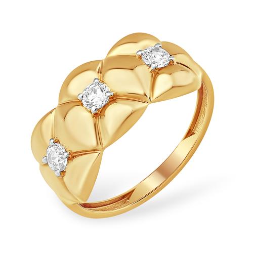 Широкое фактурное кольцо с фианитами