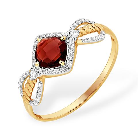 Лёгкое кольцо из золота с гранатом и фианитами