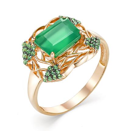 Женский перстень с зелёным агатом и фианитами