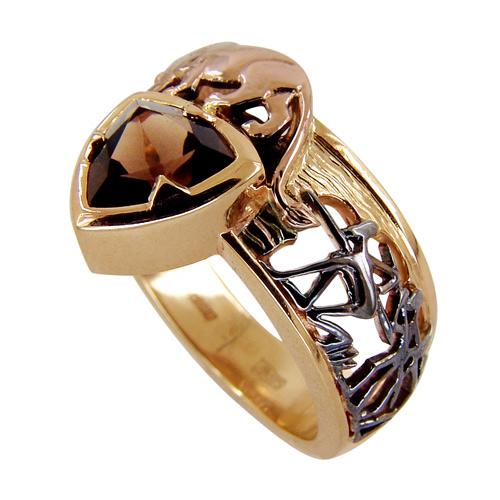 Мужское кольцо из золота с дымчатым кварцем